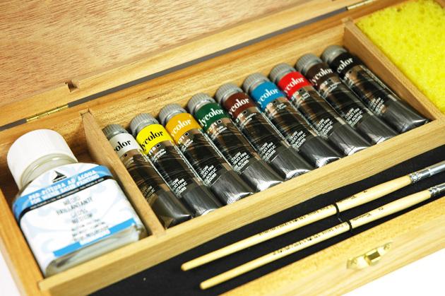 cassetta in legno colori acrilici maimeri polycolor, prezzi colori acrilici polycolor