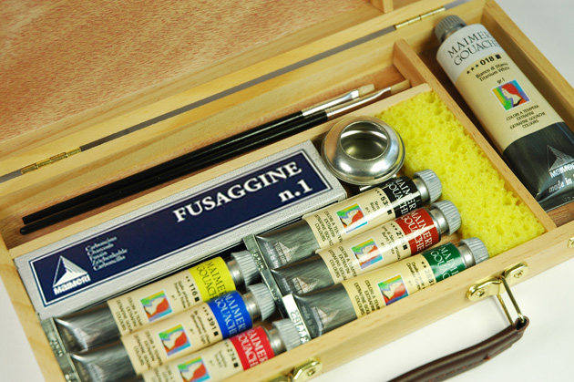 cassetta in legno colori a tempera maimeri tempera gouache, prezzi colori a tempera gouache maimeri
