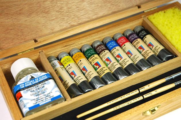 cassetta in legno colori a tempera maimeri gouache, prezzi colori gouache maimeri