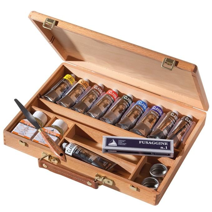 cassetta colori a olio maimeri, cassetta in legno maimeri colori classico