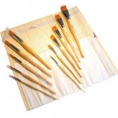 Set pennelli Tintoretto e Da Vinci assortiti in elegante stuoia portapennelli