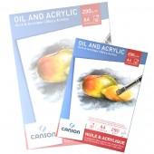 Blocco Olio e Acrilico Canson, Grana media, 10 fogli 290g, A4 cm 21x29,7