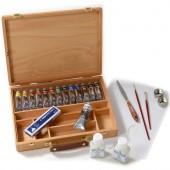 Cassetta in legno pregiato con 14 colori acrilici Maimeri Polycolor e accessori