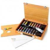 Confezione colori a tempera fine in cassetta di legno