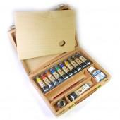 Vista aperta - Cassetta in legno di Faggio - tempera extrafine Maimeri Gouache, colori a tempera Maimeri tempera extrafine