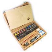 Vista aperta - Cassetta in legno di Faggio - acrilici Maimeri Polycolor, colori acrilici Maimeri Polycolor