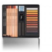 Cofanetto con 24 tra crete colorate pastel scala di terre, matite e carboncino e sanguigna by Lyra