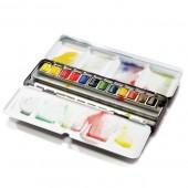 """Set 12 mezzi godet - Confezione acquerelli Winsor e Newton Professional """"Black Box"""""""