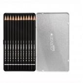 Lyra Sketching Set 12 matite grafite - Confezione in metallo con coulisse in cartone