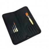 Custodia portapennelli rigido in tessuto sintetico con cerniera (pennelli non compresi)