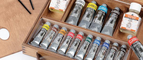 cassetta colori a olio maimeri, confezione colori a olio maimeri
