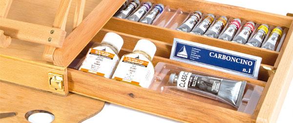 cassetta cavalletto colori a olio maimeri, confezione colori a cassetta cavalletto