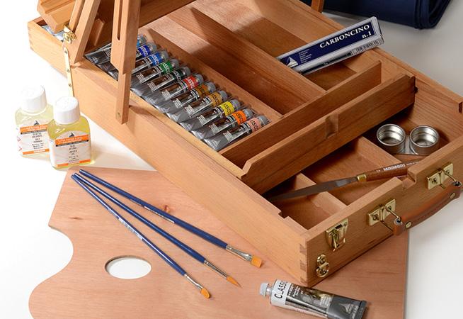 cassetta cavalletto superior colori a olio maimeri, confezione colori a cassetta classico