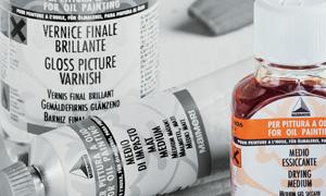 ausiliari e medium maimeri, prodotti ausiliari, diluente inodore, olio di lino, essenza di trementina, vernice damar