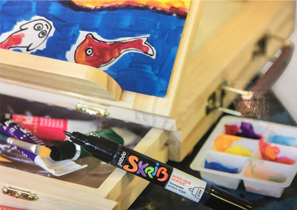 cassetta cavalletto colori acrilici per bambini e ragazzi