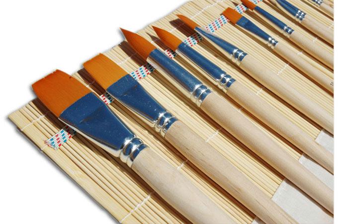 pennelli per acrilici, prezzi pennelli sintetici, assortimento pennelli astuccio offerta, acrilici
