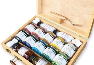 pigmenti in polvere valigetta confezione colori ad olio colori acrilici